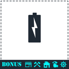 Battery Charging icon flat