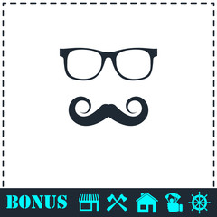 Hipster icon flat