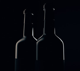 Wine bottle silhouettes