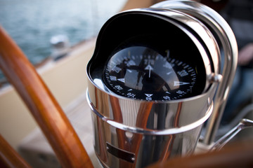 Detail of a sailing boat compass