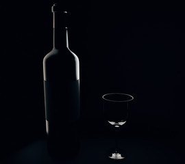 Wine bottle and glass silhouettes