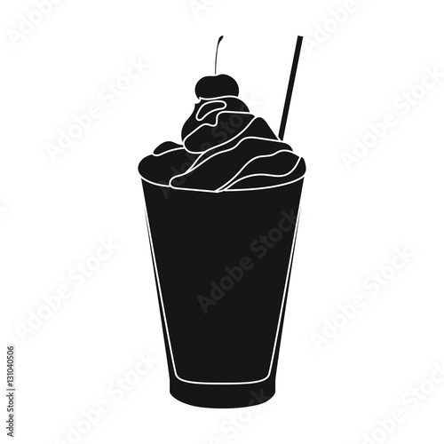 Milkshake with cherry on the top icon in black style