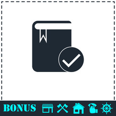 Selected book icon flat