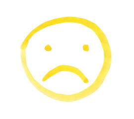 Yellow emoticon sad face, painted with watercolors