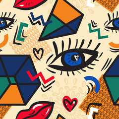 Abstract seamless pattern with geometric elements and stylized eyes and lips. Inspired by the design style Memphis and pop-art style. Trendy texture in retro style 1980s-1990s. Vector illustration.