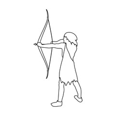 Caveman with bow and arrow icon in outline style isolated on white background. Stone age symbol stock vector illustration.