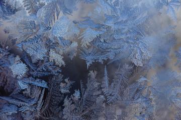 Amazing patterns on frosty window