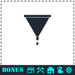 Filter funnel icon flat