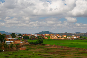 beautiful landscape with paddy field and village in Antananarivo, central Madagascar