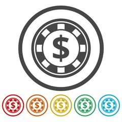 Casino chip icons set