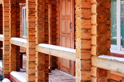 Terrace of the wooden house in the winter season zdj for Terrace house season 3