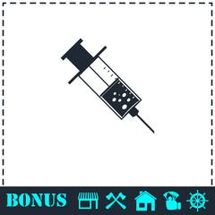Syringe icon flat