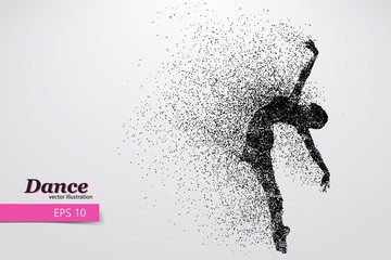 Silhouette of a dancing girl from particle. Dancer woman.