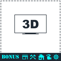3D Television icon flat