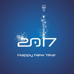 New Year 2017 cyberspace firework white blue vector