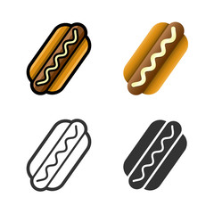 Hot dog vector cartoon, colored, contour and silhouette styles icon set. Tasty fast food unhealthy meal. Isolated dishes on white background.