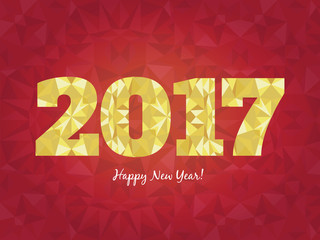 Vector 2017 Happy New Year background with golden glowing numbers and seamless triangles patterns.