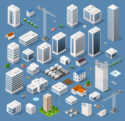 Isometric view of skyscraper office buildings and residential construction area
