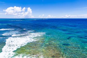 Sea, reef, landscape. Okinawa, Japan, Asia.