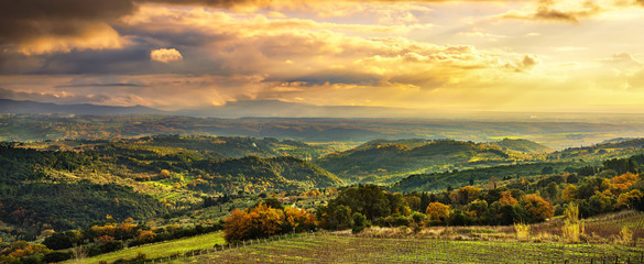 Maremma panorama. Countryside, hills and sea on horizon. Italy