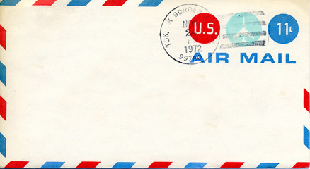Retro old US Air Mail Envelope cancelled 11 cents 1972