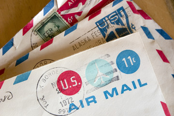 Stack of old US Air Mail envelopes