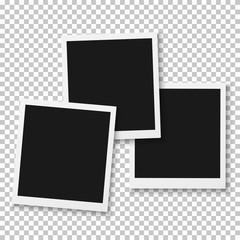 Illustration of Vector Instant Photo. Blank Vintage Photo Frame Mockup. Photorealistic Vector EPS10 Retro Photo Frame Mockup