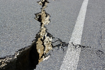 Closeup of Road Cracks Following a Massive Kaikoura Earthquake in New Zealand.