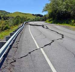Massive Cracks in The Hunderlee Hills after Kaikoura Earthquake, New Zealand.
