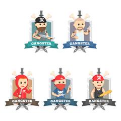 gangster people emblem set