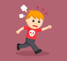 boy running with angry expression