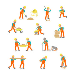Construction workers Isolated on white background. Characters laborers in different poses in flat design. Vector eps 10 cartoon