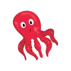 Sea octopus cartoon icon vector illustration graphic design