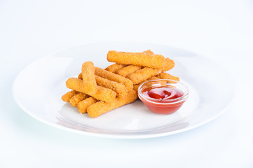 Crispy cheese sticks deep-fried on a white background
