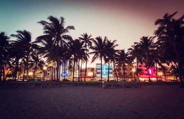 Ocean Drive street with illuminated buildings, South Beach