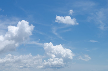 Copy space of blue sky and white clouds abstract background.
