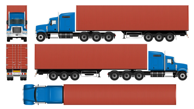 Big truck with container trailer. Semi truck isolated template on white. The ability to easily change the color. All elements in groups on separate layers.