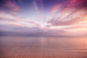 Beautiful blurred background with bright pink blurred sunset on