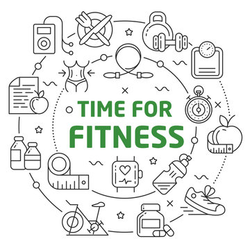 Vector circle lines illustration icons time for fitness