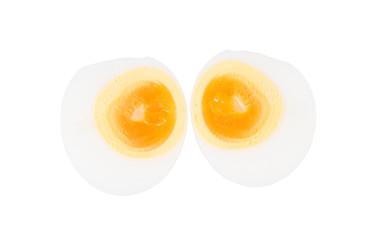boiled egg on white