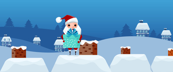 Merry Christmas. Cute santa Claus holding gift box on the roof. Christmas and Happy New Year. Cartoon Vector Illustration