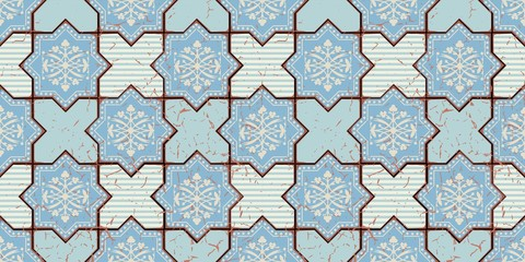Vector Oriental seamless pattern. Realistic Vintage Moroccan, Portuguese octagonal tiles. Effect of decorative aging can be removed