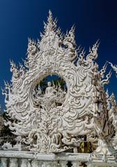 Fotobehang Monument Decoration of Wat Rong Khun aka white temple, Chiang Rai, Thailand.