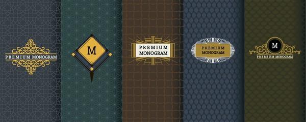 Elegant set of design elements, labels, icon, frames, seamless backgrounds for packaging.