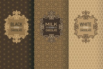 Elegant set of design elements, labels, icon, frames, seamless backgrounds for packaging in trendy linear style for chocolate and cocoa package -white, milk and dark chocolate