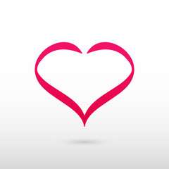 Red Heart symbol. Isolated vector logo on grey gradient background