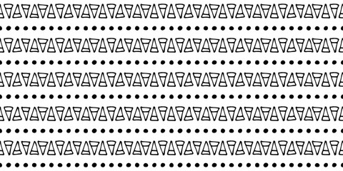 Seamless vector pattern Black and white geometrical background with hand drawn little decorative elements.Simple design. Graphic vector illustration. Template for wrapping, background, wallpaper,