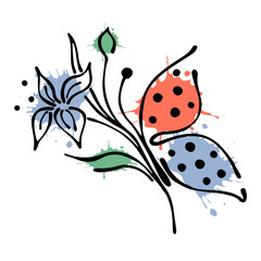 Vector floral illustration of butterfly with flowers, leaves, decorative elements isolated on the white background Hand drawn contour lines and strokes Doodle style, graphic vector illustration