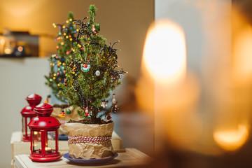 Christmas tree with light decorative garland