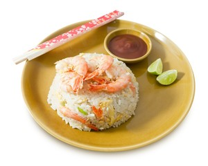 Plate of Shrimp Fried Rice on White Background